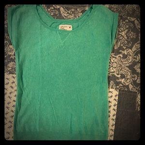 AEO blue green sleeveless crew neck sweater small